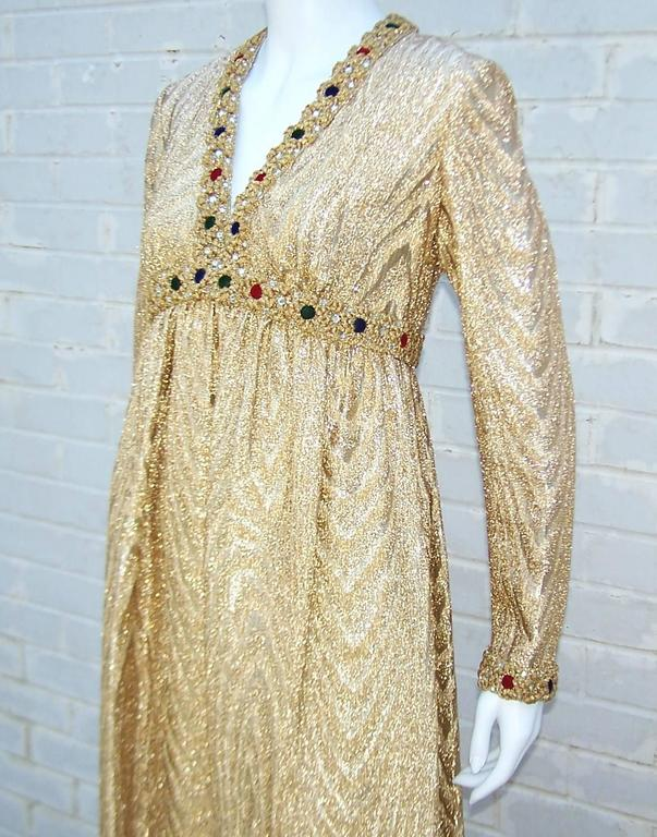 C.1970 Anne Fogarty Gold Moire Style Empire Dress With Velvet & Rhinestone Trim 7