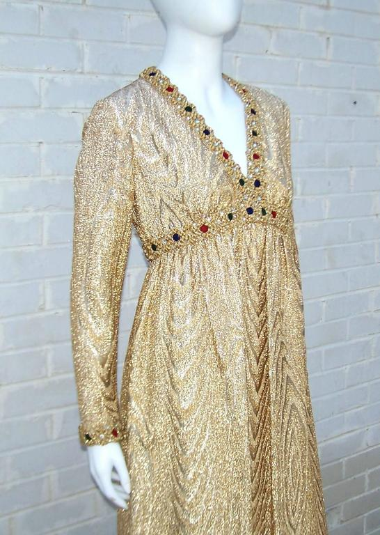 C.1970 Anne Fogarty Gold Moire Style Empire Dress With Velvet & Rhinestone Trim 8
