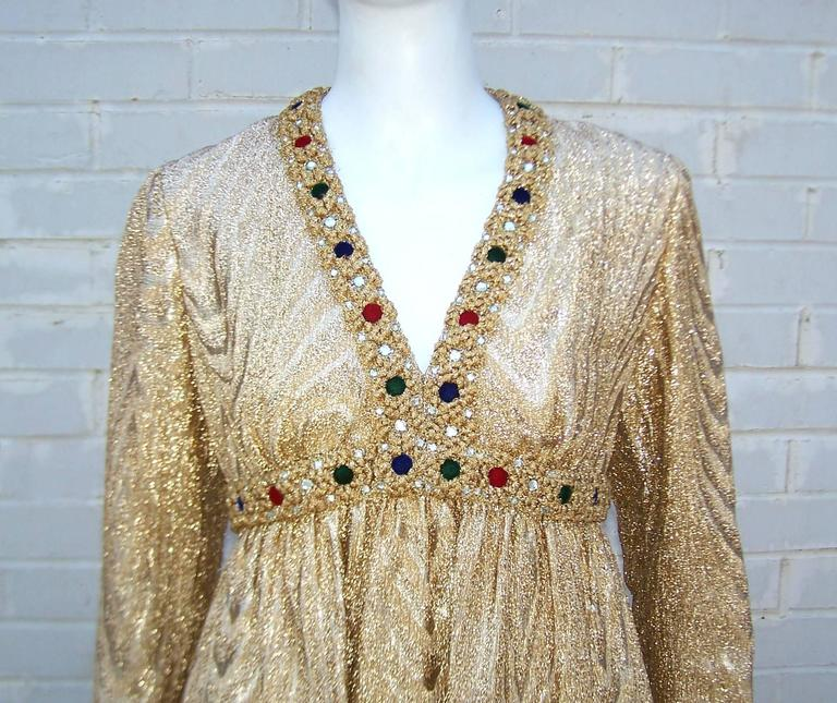 C.1970 Anne Fogarty Gold Moire Style Empire Dress With Velvet & Rhinestone Trim 5