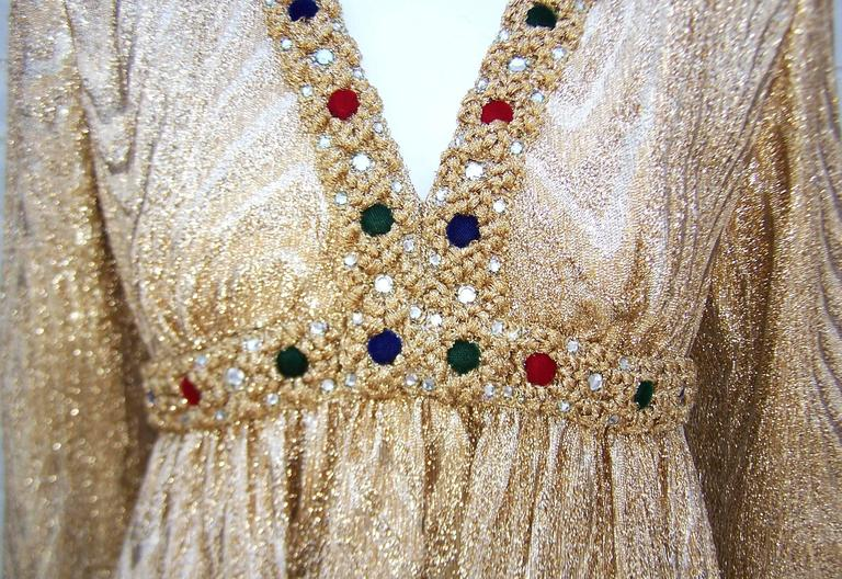 C.1970 Anne Fogarty Gold Moire Style Empire Dress With Velvet & Rhinestone Trim 6