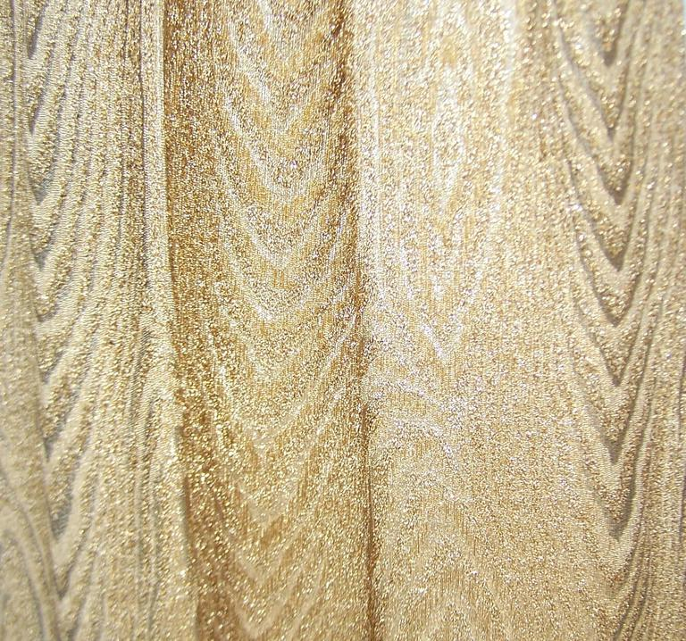 C.1970 Anne Fogarty Gold Moire Style Empire Dress With Velvet & Rhinestone Trim 9
