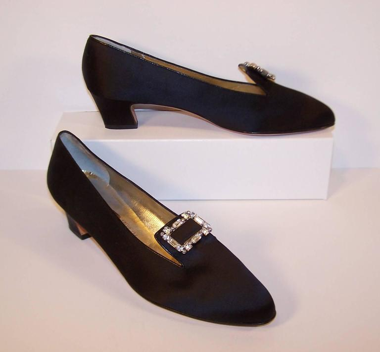 1980's Salvatore Ferragamo Edwardian Style Black Satin Evening Shoes  In Excellent Condition For Sale In Atlanta, GA