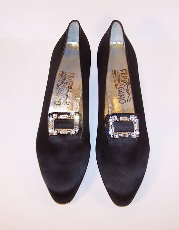 1980's Salvatore Ferragamo Edwardian Style Black Satin Evening Shoes  4