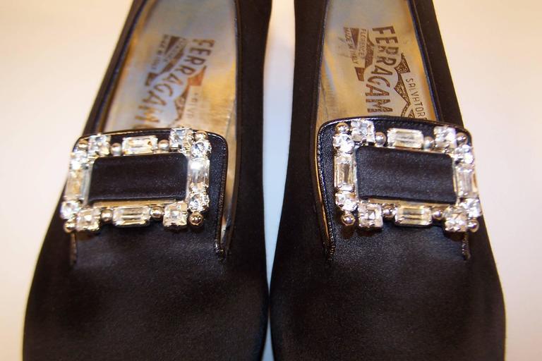 1980's Salvatore Ferragamo Edwardian Style Black Satin Evening Shoes  7
