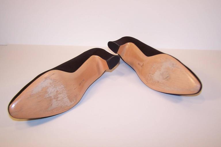 1980's Salvatore Ferragamo Edwardian Style Black Satin Evening Shoes  9