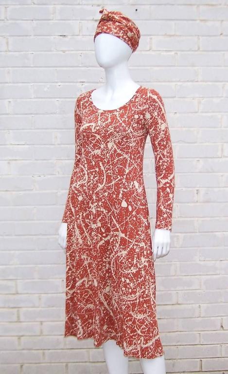 1970 S Diane Von Furstenberg Splatter Print Knit Dress