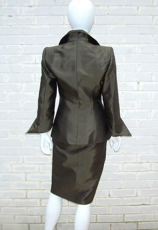 Opulently Goth 1980's Christian LaCroix Bronze Sateen Dress Suit In Excellent Condition For Sale In Atlanta, GA