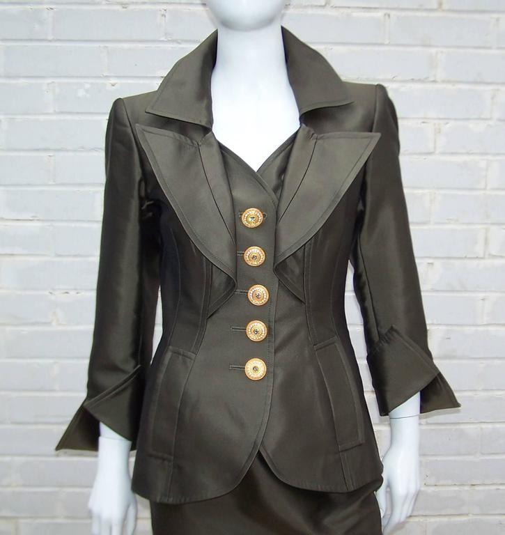Opulently Goth 1980's Christian LaCroix Bronze Sateen Dress Suit 5