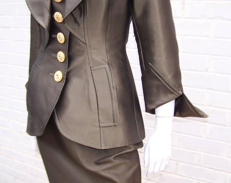 Opulently Goth 1980's Christian LaCroix Bronze Sateen Dress Suit For Sale 2