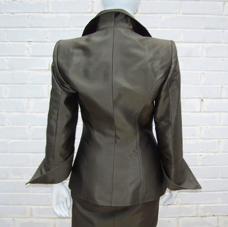 Opulently Goth 1980's Christian LaCroix Bronze Sateen Dress Suit 8