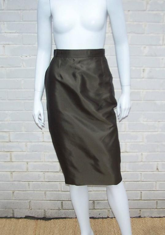 Opulently Goth 1980's Christian LaCroix Bronze Sateen Dress Suit 9