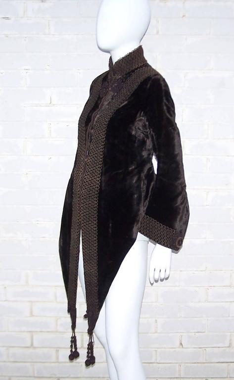 Black Amazing C.1900 Victorian Velvet Mantle Coat With Soutache & Lappet Tails For Sale