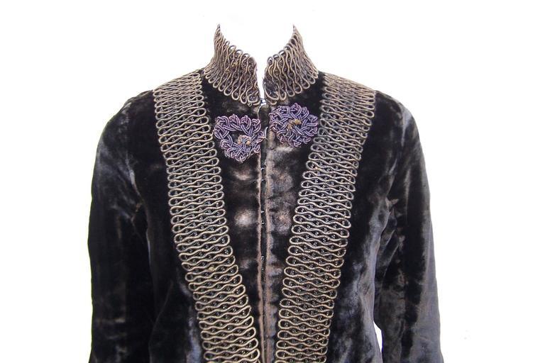 Women's Amazing C.1900 Victorian Velvet Mantle Coat With Soutache & Lappet Tails For Sale