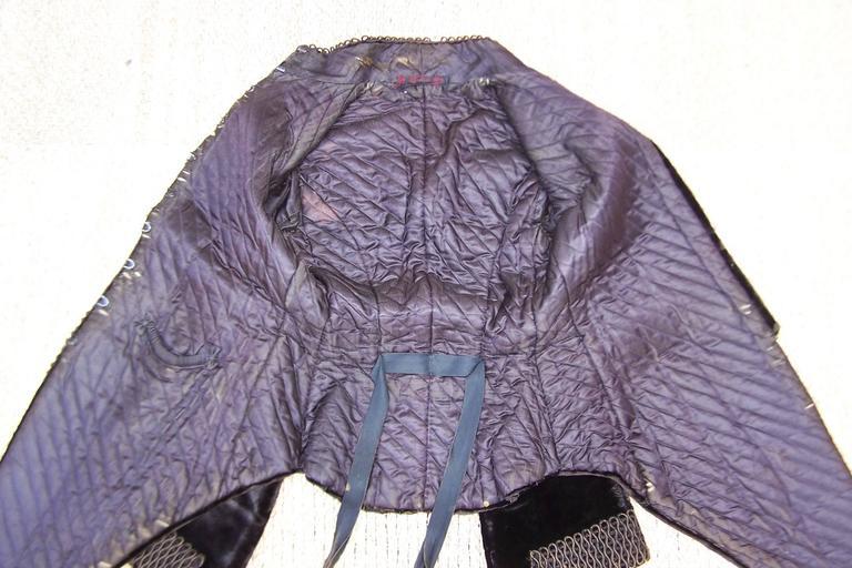 Amazing C.1900 Victorian Velvet Mantle Coat With Soutache & Lappet Tails For Sale 4
