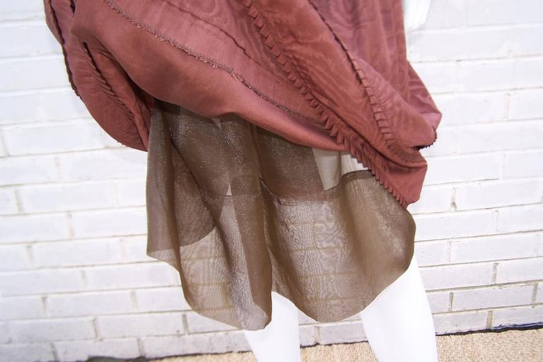 C.1980 Adele Simpson Chocolate Brown Moire Dress With Organza Lining For Sale 5