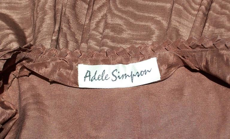 C.1980 Adele Simpson Chocolate Brown Moire Dress With Organza Lining For Sale 6