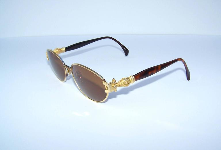 663346f5be9 C.1990 Kieselstein Cord Gold Metal and Tortoise Crocodile Sunglasses at  1stdibs