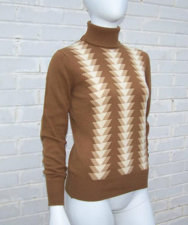 Brown 1970's Jaeger Graphic Op Art Print Wool Turtleneck Sweater For Sale