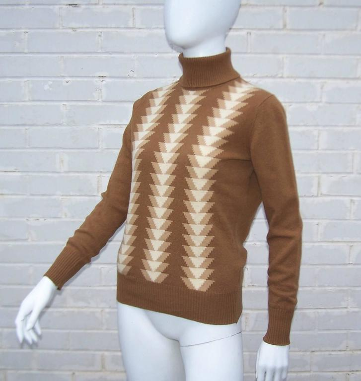 Women's 1970's Jaeger Graphic Op Art Print Wool Turtleneck Sweater For Sale