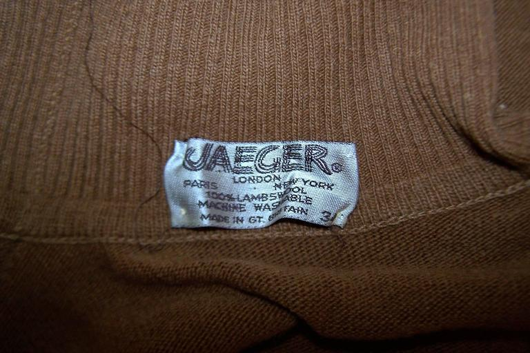 1970's Jaeger Graphic Op Art Print Wool Turtleneck Sweater For Sale 3