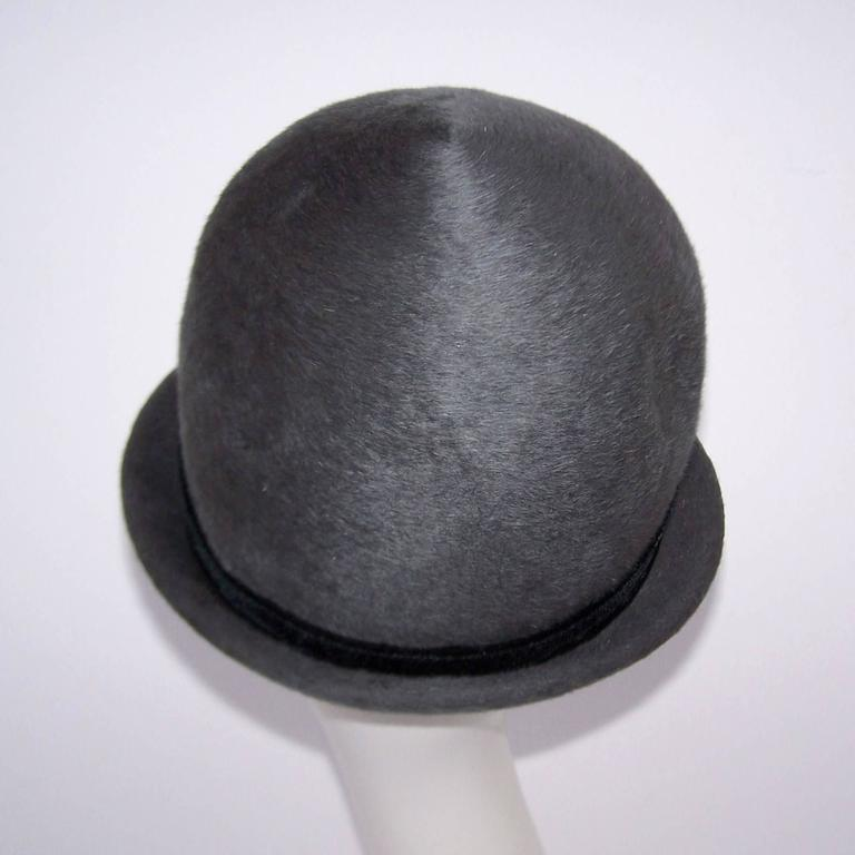 Women's Bobby On the Beat Charcoal Gray 1960's Hat With Velvet Bow For Sale