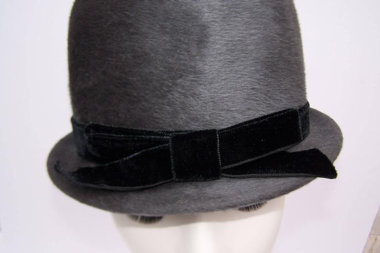 Bobby On the Beat Charcoal Gray 1960's Hat With Velvet Bow For Sale 1
