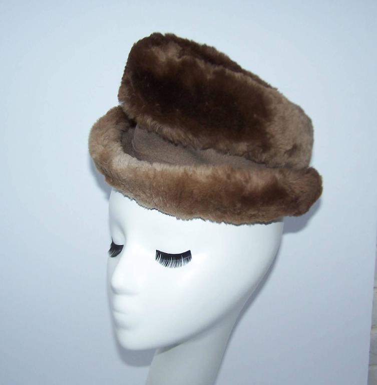 Black Ultra Stylish 1940's Rose Kraysler Sheared Beaver Fur Hat For Sale