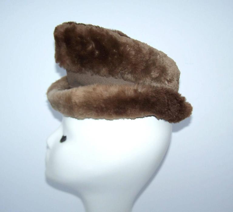 Women's Ultra Stylish 1940's Rose Kraysler Sheared Beaver Fur Hat For Sale