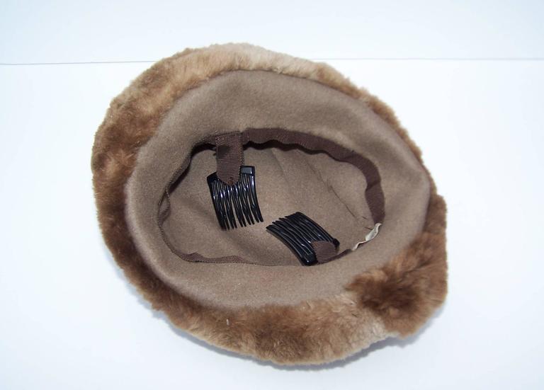 Ultra Stylish 1940's Rose Kraysler Sheared Beaver Fur Hat For Sale 3