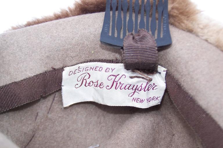 Ultra Stylish 1940's Rose Kraysler Sheared Beaver Fur Hat For Sale 4