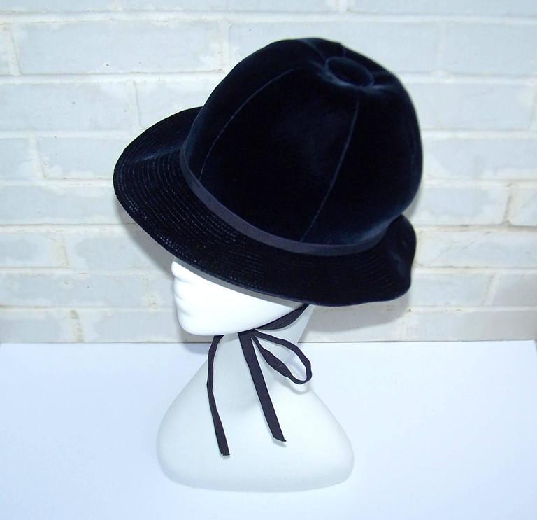 Black 1960's Adolfo Blue Velvet Bucket Style Hat For Saks Fifth Avenue  For Sale