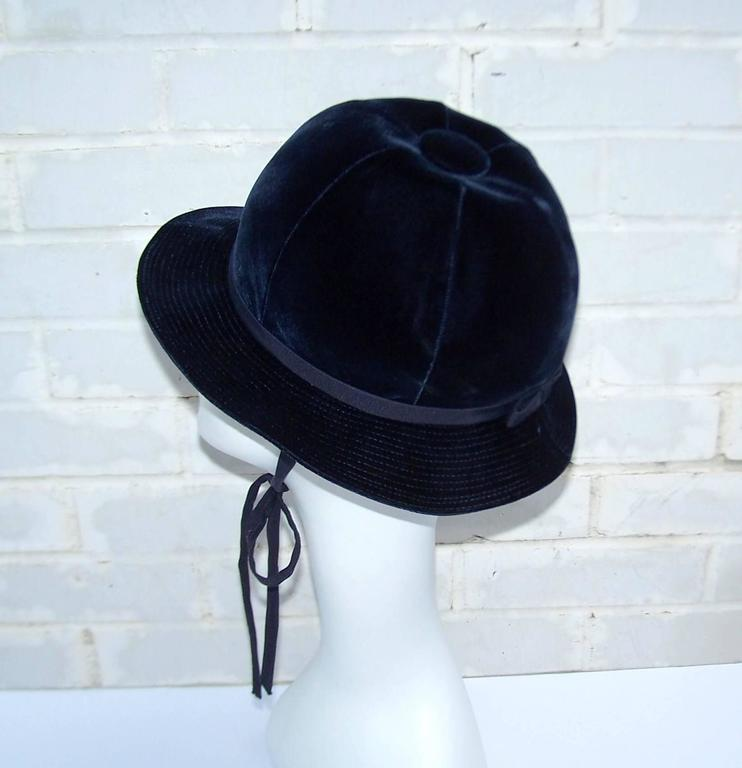 1960's Adolfo Blue Velvet Bucket Style Hat For Saks Fifth Avenue  In Excellent Condition For Sale In Atlanta, GA