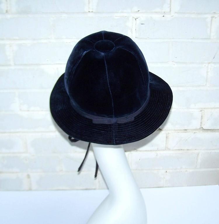 Women's 1960's Adolfo Blue Velvet Bucket Style Hat For Saks Fifth Avenue  For Sale