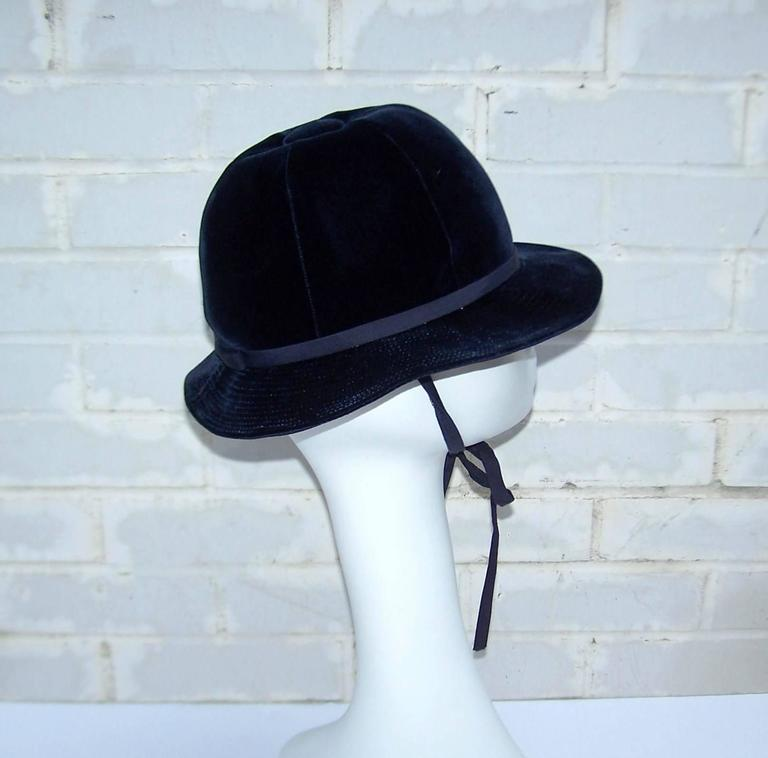 1960's Adolfo Blue Velvet Bucket Style Hat For Saks Fifth Avenue  For Sale 1