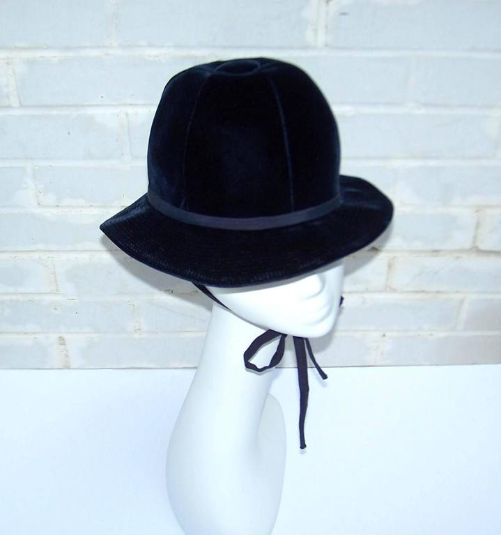 1960's Adolfo Blue Velvet Bucket Style Hat For Saks Fifth Avenue  For Sale 2