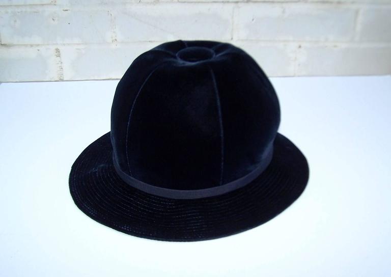 1960's Adolfo Blue Velvet Bucket Style Hat For Saks Fifth Avenue  For Sale 3
