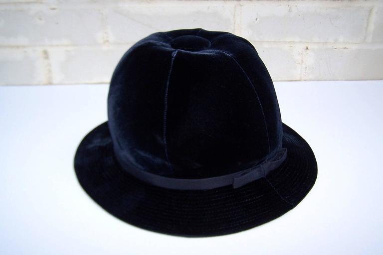1960's Adolfo Blue Velvet Bucket Style Hat For Saks Fifth Avenue  For Sale 4