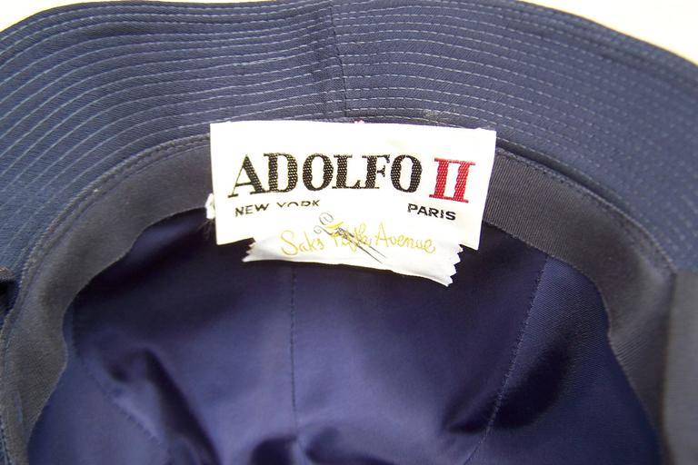 1960's Adolfo Blue Velvet Bucket Style Hat For Saks Fifth Avenue  For Sale 5