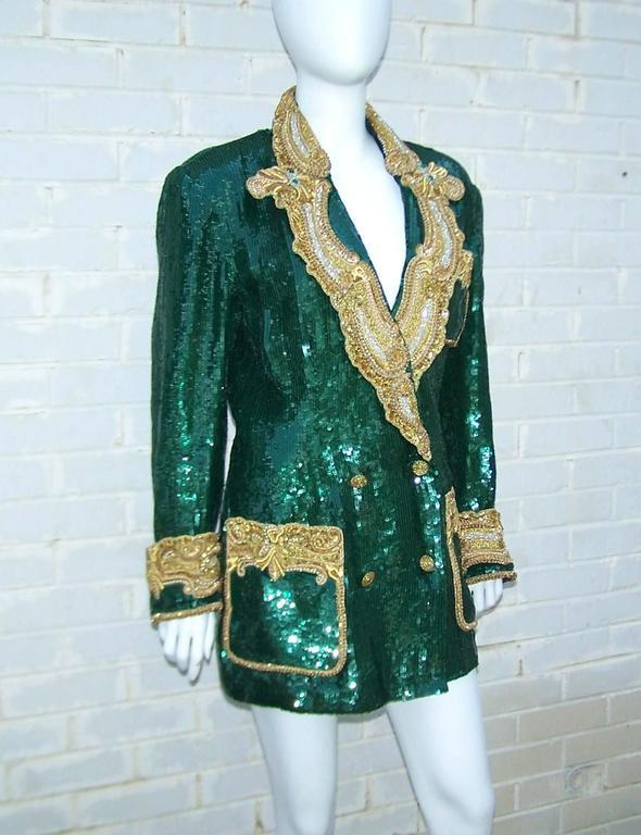 1980's Glam Emerald Sequin Boyfriend Jacket With Amazing Gold Braid 3