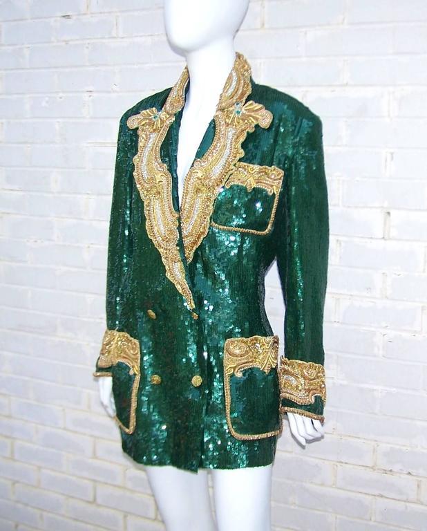 1980's Glam Emerald Sequin Boyfriend Jacket With Amazing Gold Braid 4