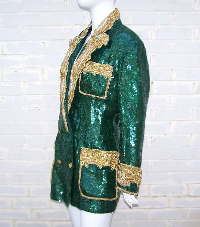 1980's Glam Emerald Sequin Boyfriend Jacket With Amazing Gold Braid 5