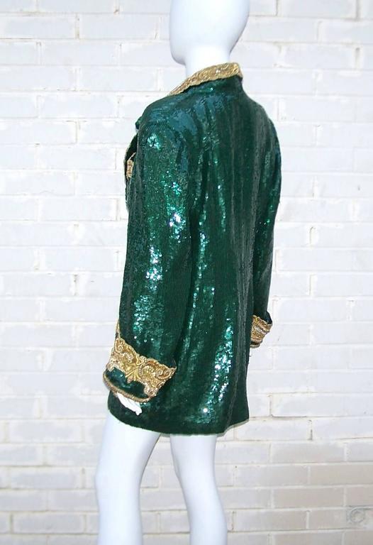 1980's Glam Emerald Sequin Boyfriend Jacket With Amazing Gold Braid 6