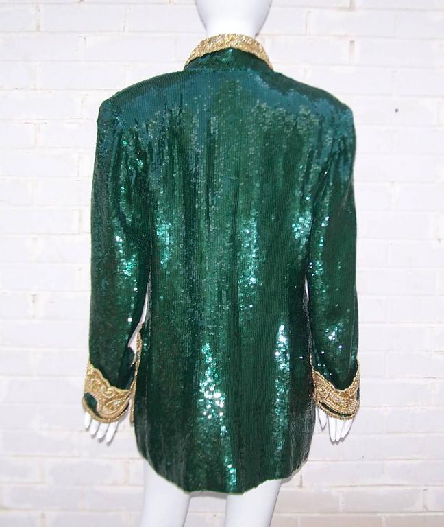 1980's Glam Emerald Sequin Boyfriend Jacket With Amazing Gold Braid 7