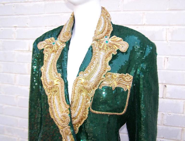 1980's Glam Emerald Sequin Boyfriend Jacket With Amazing Gold Braid 8
