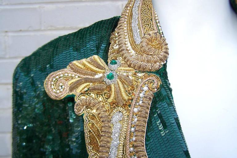 1980's Glam Emerald Sequin Boyfriend Jacket With Amazing Gold Braid 9