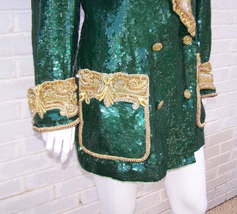 1980's Glam Emerald Sequin Boyfriend Jacket With Amazing Gold Braid 10