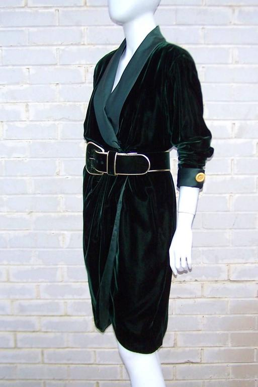 1980 S Donna Karan For Anne Klein Rich Green Velvet Dress