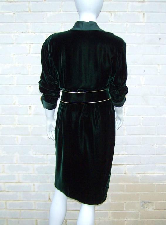1980's Donna Karan for Anne Klein Rich Green Velvet Dress With Gold Details For Sale 1