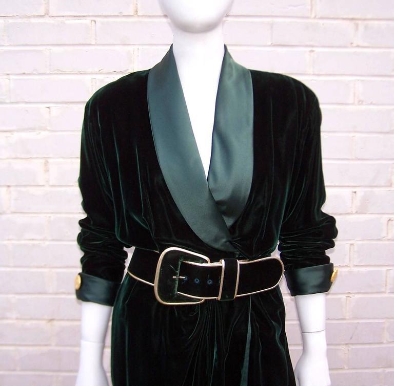 1980's Donna Karan for Anne Klein Rich Green Velvet Dress With Gold Details For Sale 2
