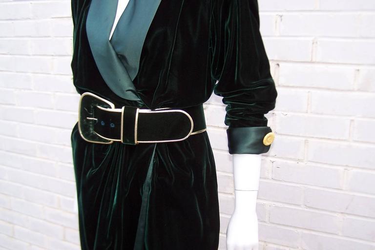 1980's Donna Karan for Anne Klein Rich Green Velvet Dress With Gold Details For Sale 4